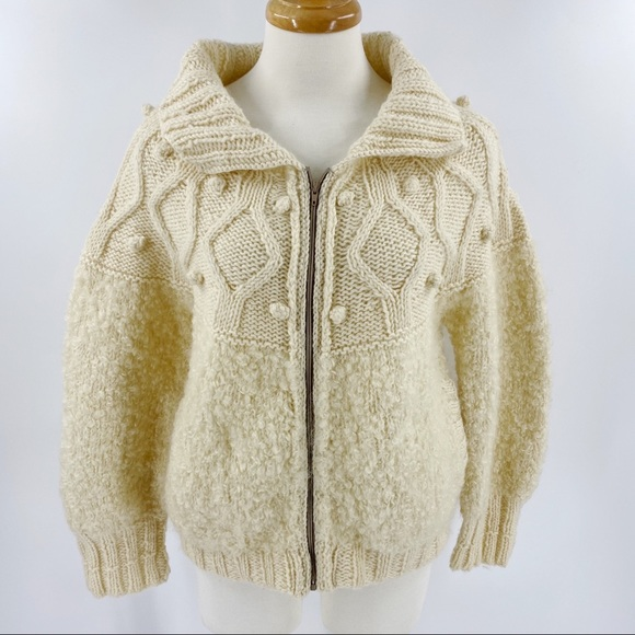 Vintage knit wool fisherman's cardigan cream